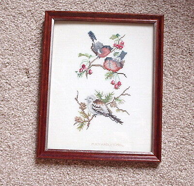 """AN 11"""" TALL x 9"""" WIDE, 1984, FRAMED WEAVED BULLFINCH & LONG-TAILED TIT PICTURE"""