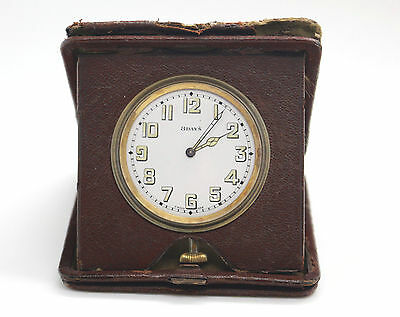 Art Deco ASSA Swiss 8 day Travelling Desk Clock Working Order Leather Case 1920s