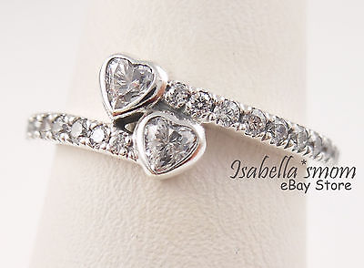 f429c97167d FOREVER HEARTS Genuine PANDORA Silver Sparkling VALENTINE LOVE Ring 4.5 (48)  NEW