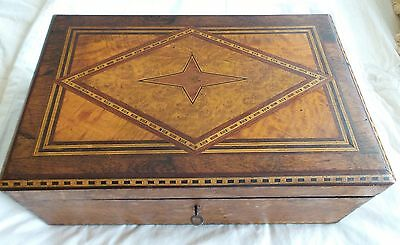 Antique Inlay Multi Woods Lap Desk Circa 1890 Orignial Tumbling Lock & Inkwell