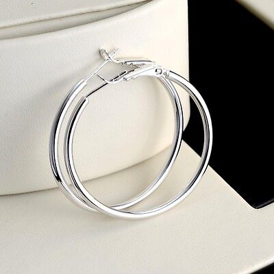 Free Shipping 18k White Gold Filled Charm Earrings 35mm ring Smooth Hoop