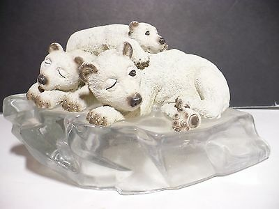 Figurine Animal Ceramic Statue Polar Bear Family on Glass Glacier