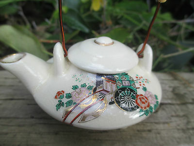 Pretty Miniature Teapot - Cream With Gypsy Cart Decoration - Woven Handle