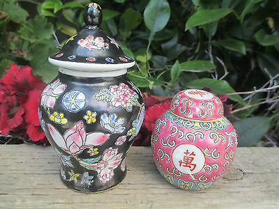 2 X Pretty Little Ginger Jars - Black With Flowers & Pink With Flowers