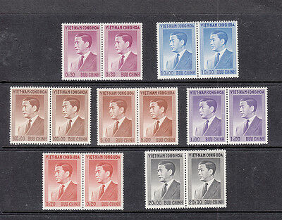Vietnam (South) 1956 Pres Ndo Dinh vals to 100p brown pairs MNH ,sg Cat £209