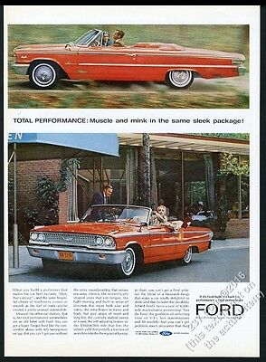 1963 Ford Galaxie 500 convertible red car photo vintage print ad