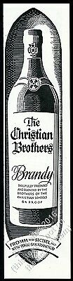 1946 Christian Brothers Brandy bottle art vintage print ad