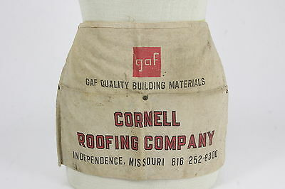 GAF & Cornell Roofing Company Nail Carpenter Canvas Apron Independence Missouri