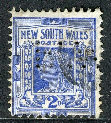 AUSTRALIA;  1900s NEW SOUTH WALES issue fine used 2d. + PERFIN
