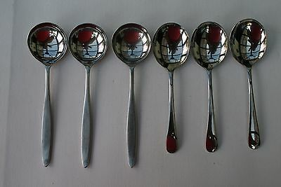 6  Vintage Assorted Stainless Steel Soup Spoons