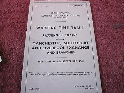 Br Lmr Working Timetable Pass Manchester Wigan Southport Liverpool1962 Sect C