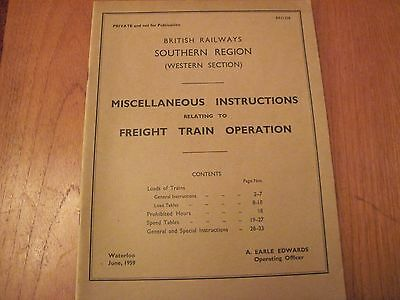Br Southern Western Section Misc Instructions Freight Train Operation 1959
