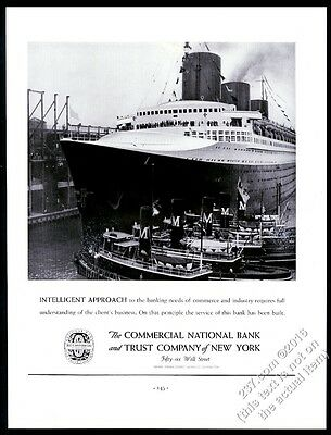1938 SS Normandie ship photo CNB Bank of New York vintage print ad