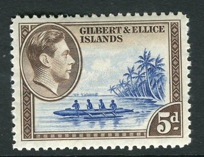 GILBERT & ELLICE ISLANDS;  1938 early GVI issue Mint hinged 5d. value