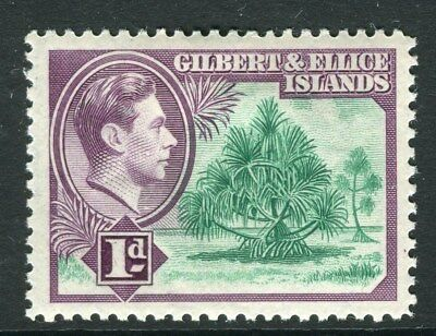 GILBERT & ELLICE ISLANDS;  1938 early GVI issue Mint hinged 1d. value