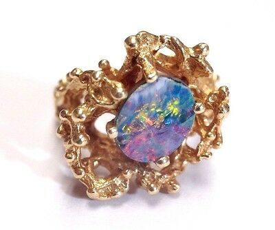 Free Form 14K Yellow Gold Black Opal Doublet Ring 6.5