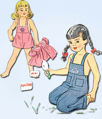 1940s Vintage Simplicity Sewing Pattern 1687 Toddler Girls Overalls & Smock Sz 1