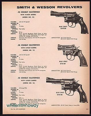 1973 SMITH & WESSON Combat Masterpiece Model 15 & 18 Revolver AD