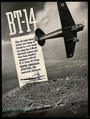 1940 BT-14 North American Aviation Trainer Aircraft AD US Army Air Corps