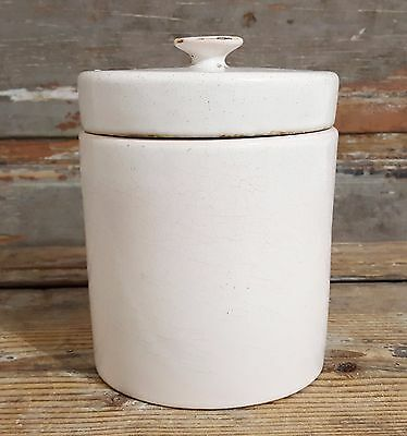 7.09 in WHITE SHABBY GLAZED CONFIT POT ANTIQUE FRENCH POTTERY 19th