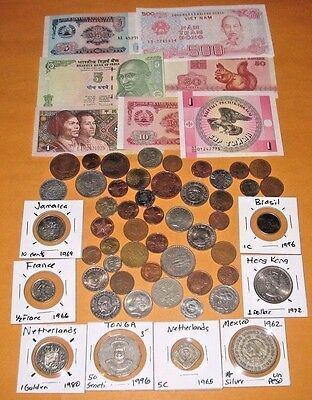 FOREIGN COINS + BANKNOTES! SILVER COIN! CARDED COINS! GREAT COLLECTION! (709z)