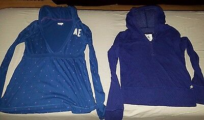 Lot of 2 American Eagle & Aerie blue dotted Hooded LS Shirts Womens SMALL S