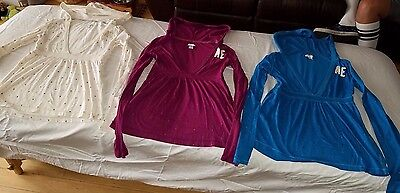 LOT of 3 Hooded American Eagle Dotted LS babydoll Shirts Womens XS Ex-Small