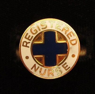 Vintage 14K Gold Filled Enamel Registered Nurse Pin