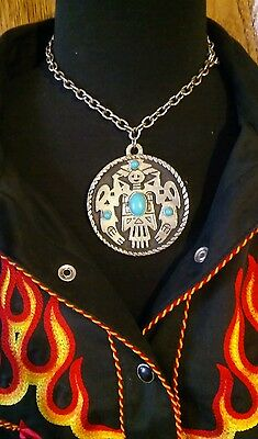 Native American Old Pawn Shop Find Silver Large Turquoise Pendant NECKLACE