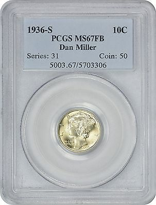 1936 S Mercury Dime MS67FB PCGS Mint State 67 Full Bands