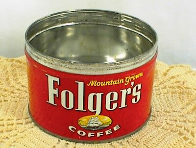 Vintage Folgers Coffee Can Folger`s Mountain Grown Key Wind #52 No Lid No Key