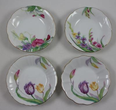 Japan Gold Crown & M Backstamp 4 Shallow China Sauce Dishes Floral Patterns