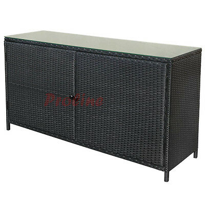 "59"" Wicker Rattan Buffet Serving Cabinet Table Towel Storage Counter Outdoor"
