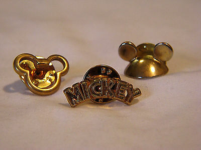 Three Cool Little Gold-Tone Mickey Mouse Pins