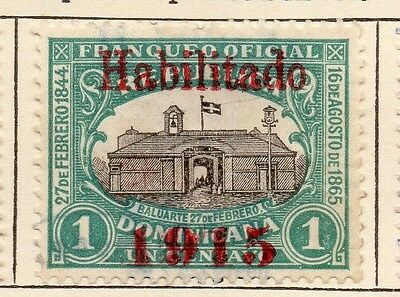 Dominican Republic 1914 Early Issue Fine Used 1c. Optd 1915 121877