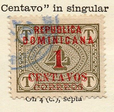 Dominican Republic 1904 Early Issue Fine Used 1c. Surcharged Optd 121913
