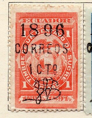 Ecuador 1896 Early Issue Fine Mint Hinged 1c. Surcharged Optd 121954