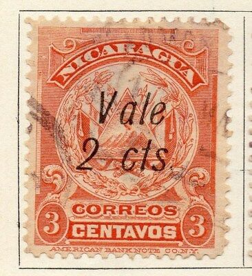 Nicaragua 1910 Early Issue Fine Used 2c. Surcharged 122078