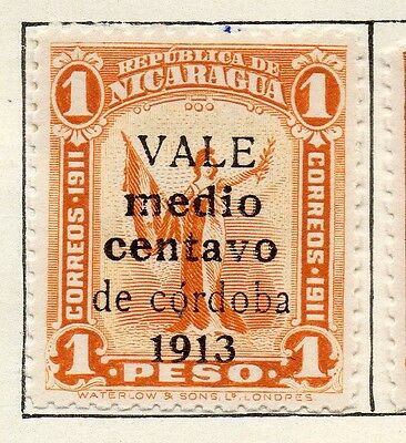 Nicaragua 1913 Early Issue Fine Mint Hinged 1/2c. Optd Surcharged 122164