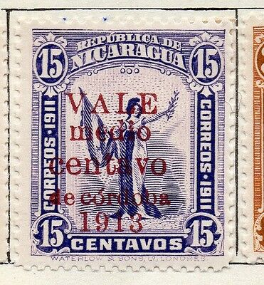 Nicaragua 1913 Early Issue Fine Mint Hinged 1/2c. Optd Surcharged 122166