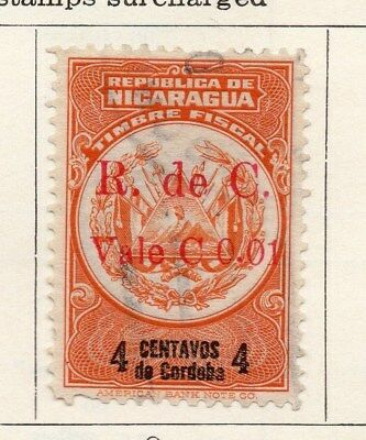 Nicaragua 1921 Early Issue Fine Used 4c. Surcharged 122190