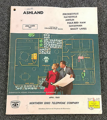 Vtg April 1969 ASHLAND Ohio Telephone Directory Book Northern Phone Yellow Pages