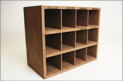 Vintage Wood Organizer cubby pigeon hole parts cabinet wooden industrial garage