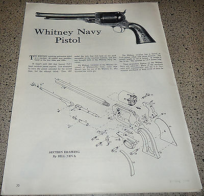 1962 WHITNEY Navy PISTOL Exploded View~Parts List 1 & 1/2-page Article