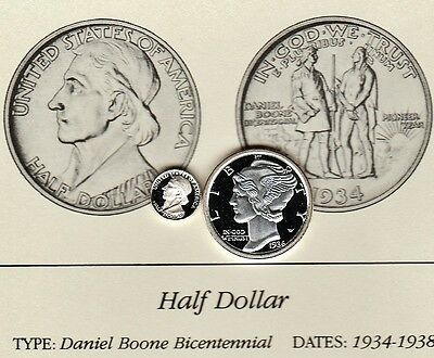 1934 50c Daniel Boone Franklin Mint Miniature Sterling Silver Proof Coin