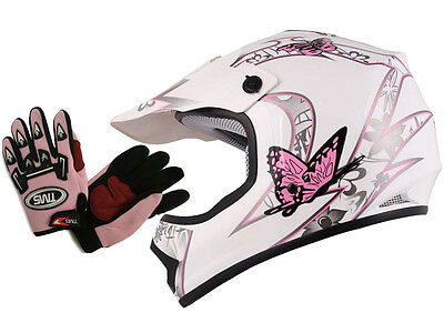 Youth&Kids Pink/White Butterfly Dirt Bike ATV Helmet MX w/Motocross Gloves~S,M,L