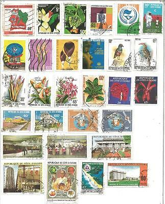 42 Ivory Coast Stamps from Quality Assorted Old Albums