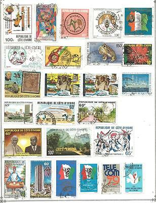 25 Ivory Coast Stamps from Quality Assorted Old Albums