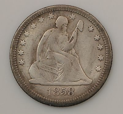 1858-P Seated Liberty Silver Quarter Dollar *G03