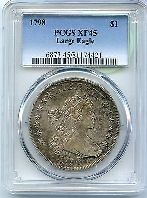 1798 Flowing Hair Dollar PCGS XF 45 Certified - Large Eagle - SM75